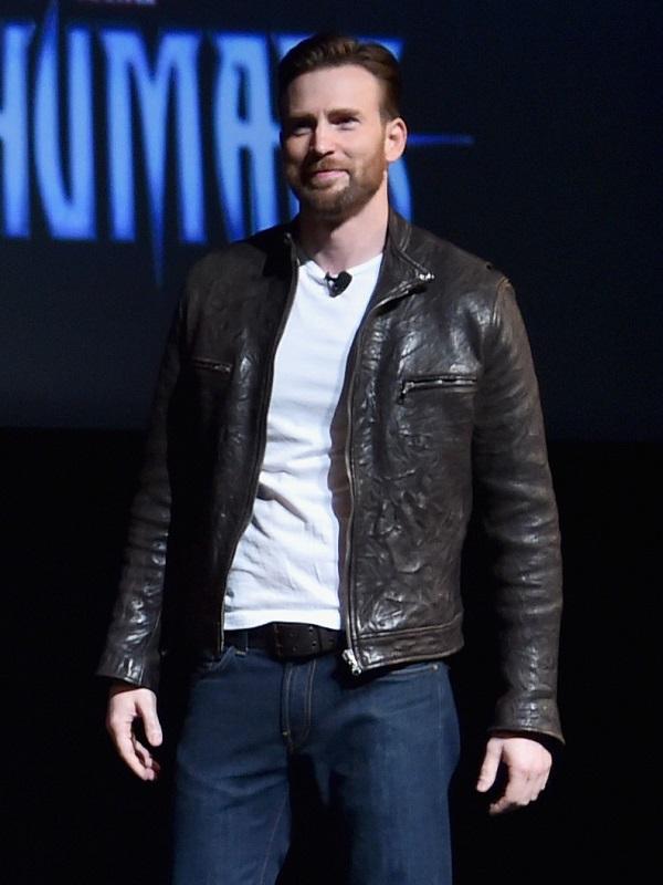 Chris Evans Captain America Real Brown Jacket
