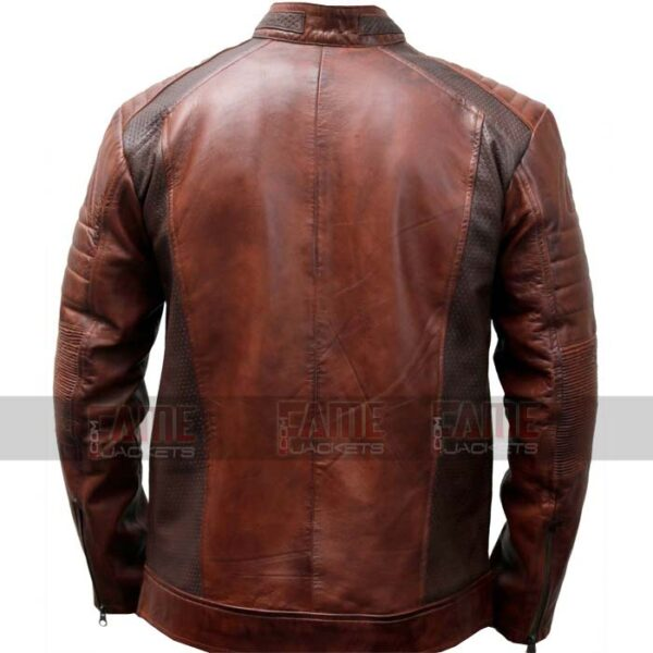 Mens Cafe Racer Vintage Brown Leather Jacket For Men