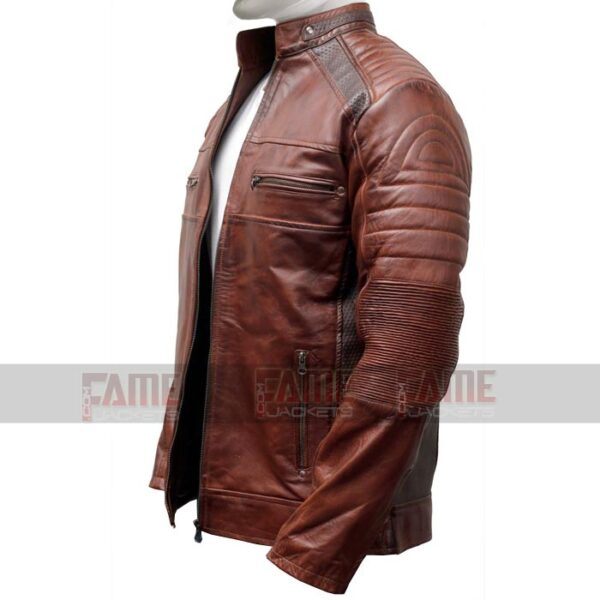 Cafe Racer Brown Leather Distressed Jacket For Men