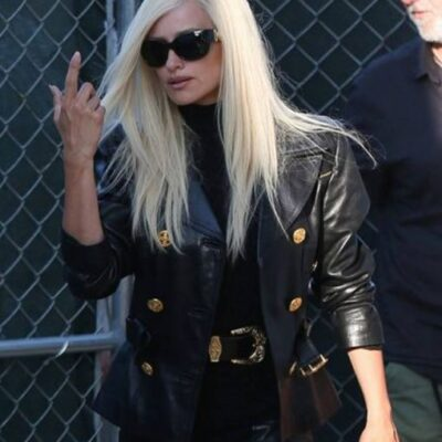 Donatella Versace Black Leather Double Breasted Jacket On Sale