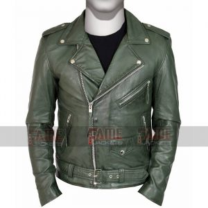 Mens Real Green Leather Slim Fit Jacket On Sale