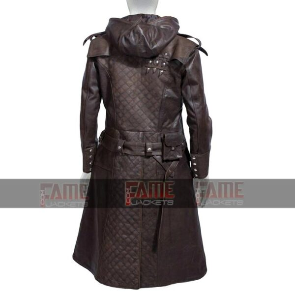 Assassins Creed Real Brown Distressed Mens Winter Leather Coat