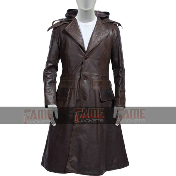 Assassins Creed Real Brown Distressed Mens Winter Leather Coat On Sale