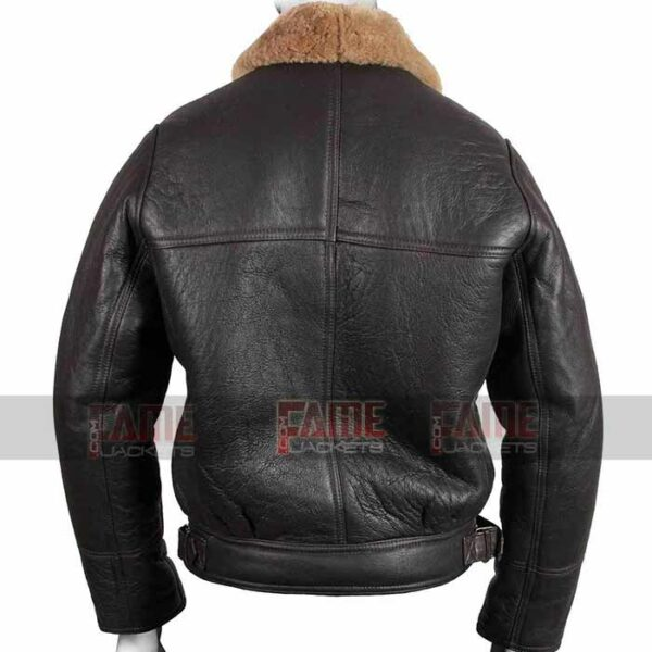 Mens B3 Real Brown Leather Shearling Bomber Jacket Online