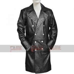 Mens Military WW2 Black Leather Winter Trench Coat On Sale