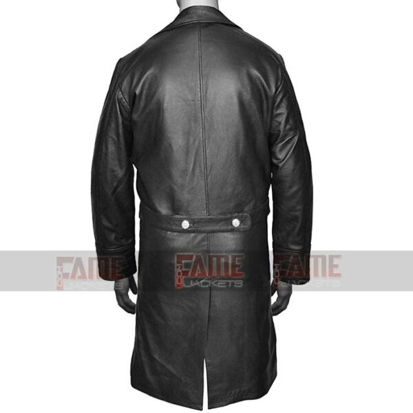Mens Military WW2 Black Leather Winter Trench Coat Online