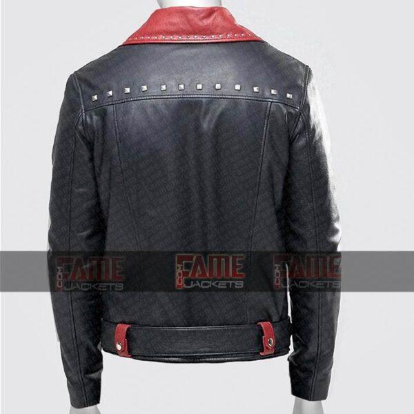 Mens Black With Red Leather Slim Fit Biker Jacket Online