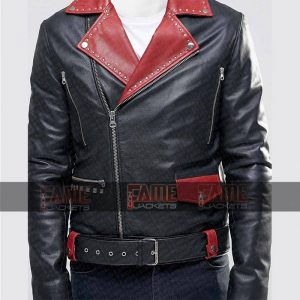 Mens Black With Red Leather Slim Fit Biker Jacket Online