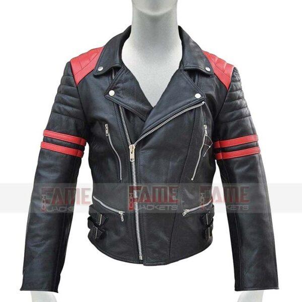 Mens Black With Red Strips Slim Fit Leather Biker Jacket Online