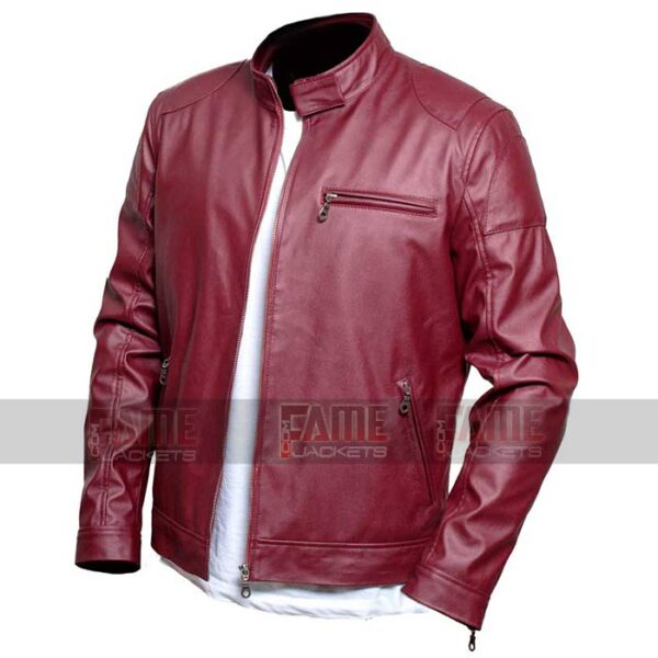 Mens Maroon Cafe Racer Real Leather Biker Jacket On Sale