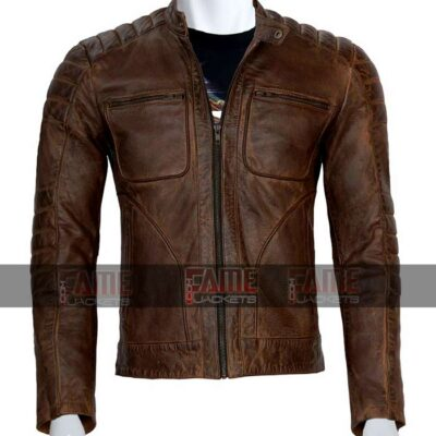 Mens Cafe Racer Distressed Brown Real Leather Jacket Sale