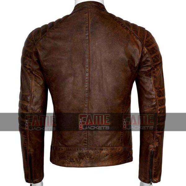 Mens Cafe Racer Distressed Brown Real Leather Biker Jacket Sale