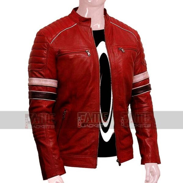 Mens Latest Red Cafe Racer Real Leather Jacket On Sale