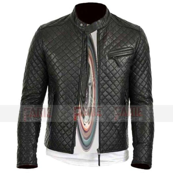 Mens Real Black Leather Slim Fit Jacket Online