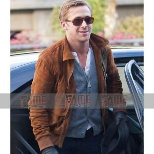 Ryan Gosling Tan Brown Genuine Suede Leather Slim Fit Jacket Online