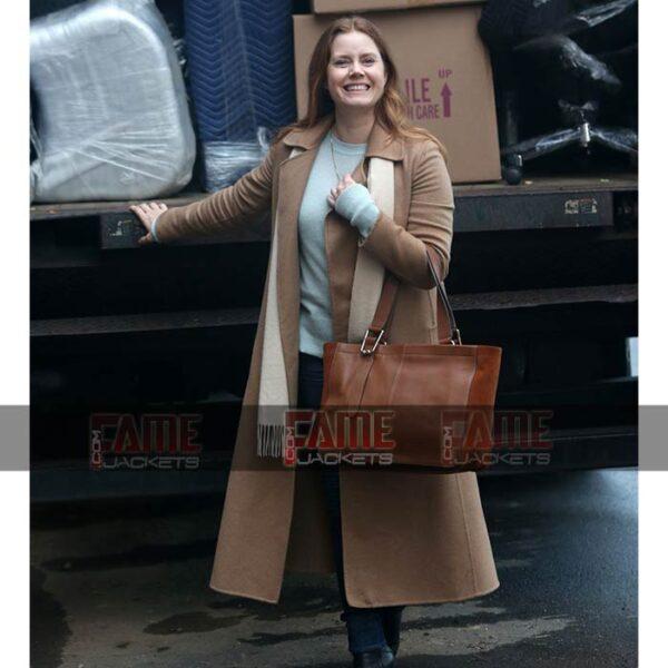 Amy Adams The Women In The Window Brown Wool Winter Coat On Sale