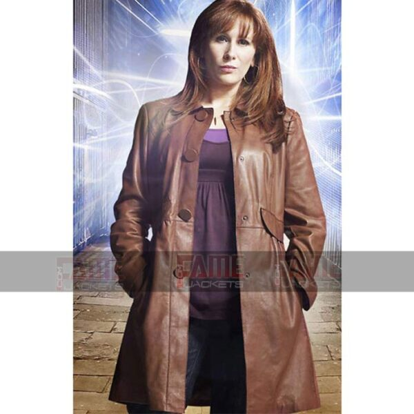 Doctor Who Donna Noble Womens Real Brown Winter Leather Overcoat Sale