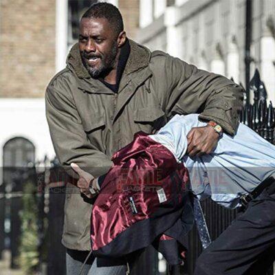 Luther Idris Elba Mens Green Cotton Fur Hooded Long Jacket