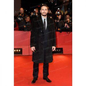 James Franco Mens Black Suede Leather Coat