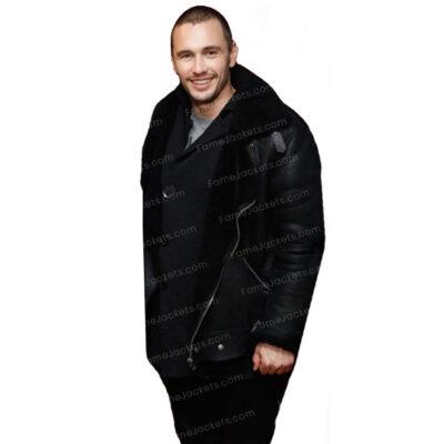James Franco Black B3 Shearling Bomber Winter Jacket For Men On Sale