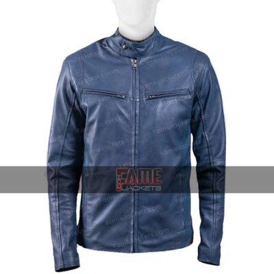 Mens Blue Cafe Racer Slim Fit Biker Jacket On Sale