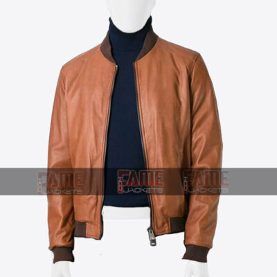Mens Tan Brown Real Sheepskin Leather Slim Fit Jacket Online