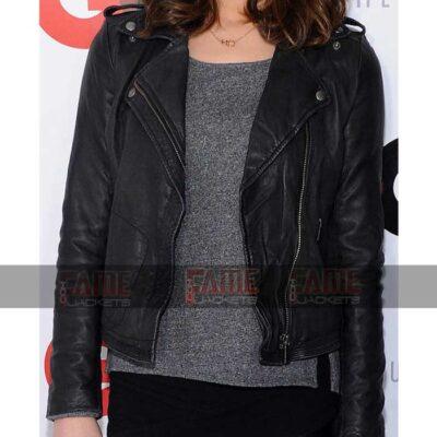 Ashley Greene Real Black Slim Fit Biker Leather Jacket On Sale