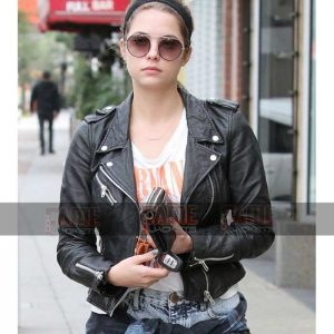 Ashley Victoria Benson Women Real Black Leather Biker Jacket On Sale