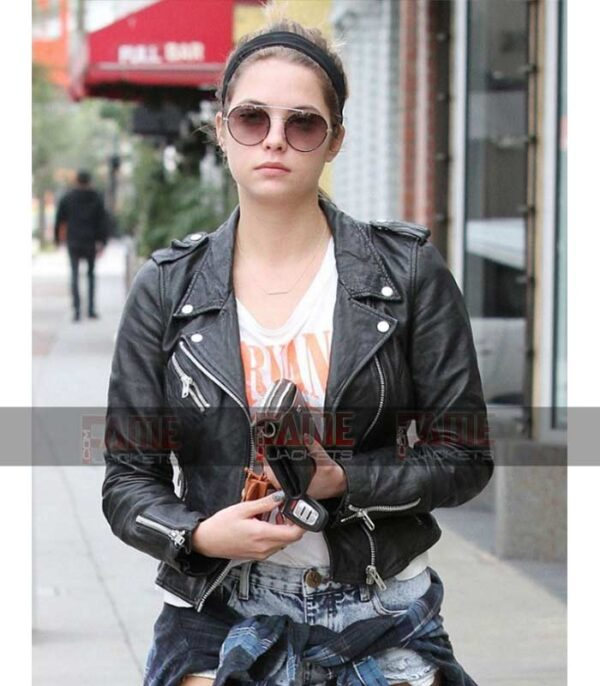 Ashley Victoria Benson Women Real Black Leather Biker Jacket On Sale