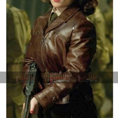 Avenger Peggy Carter Brown Distress Leather Belted Jacket For Women On Sale