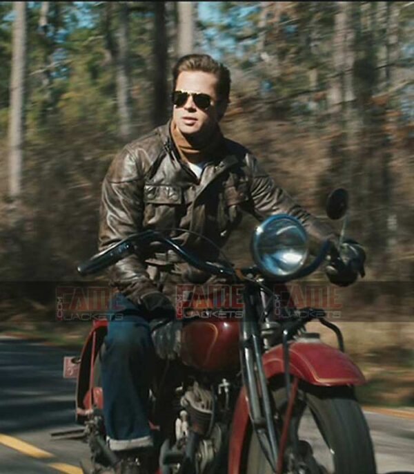 Brad Pitt Vintage Distressed Leather Jacket On Sale