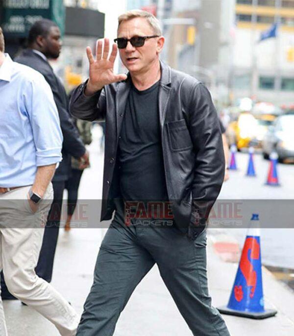Daniel Craig Men Vintage Black Double Breasted Blazer