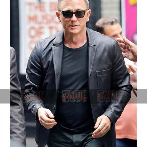 Daniel Craig Men Vintage Black Double Breasted Blazer