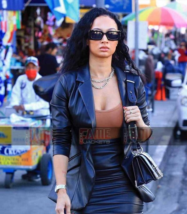 Draya Michele Leggy Real Black Leather Slim Fit Blazer On Sale
