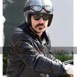 Ewan McGregor Mens Black Biker Leather Jacket On Sale