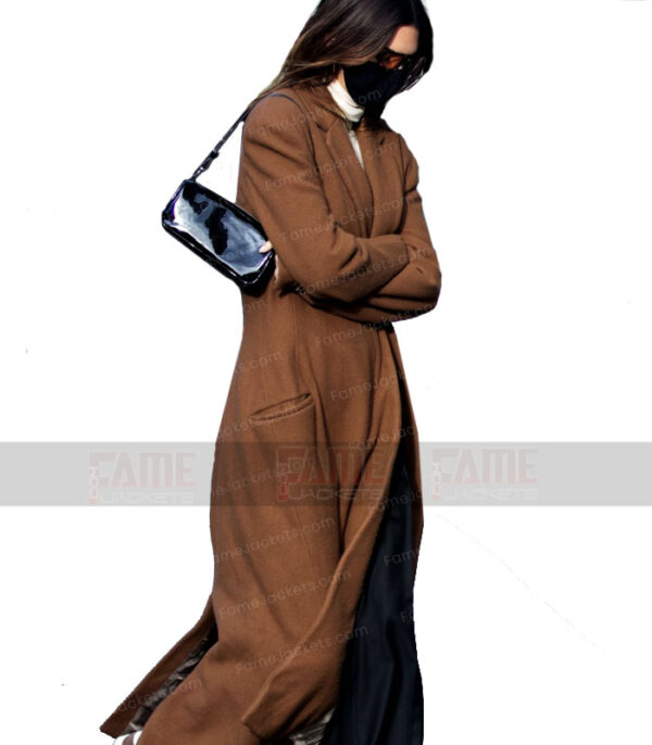 Kendall Jenner Brown Wool Winter Trench Coat For Women On Sale