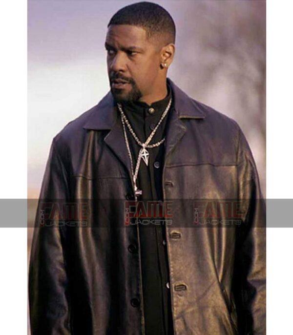 Get Denzel Washington Training Day Mens Black Leather Winter Coat