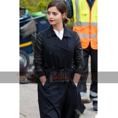 Doctor Who Clara Oswald Women Fleece And Leather Winter Coat Sale