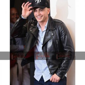 James Franco Zeroville Vikar Mens Real Black Leather Biker Jacket Sale