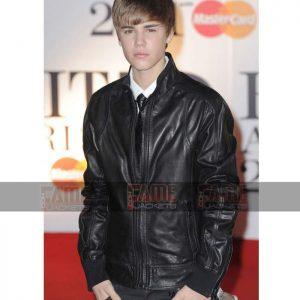 Justin Bieber Mens Real Black Leather Jacket