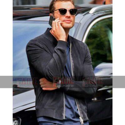 Jamie Dornan Fifty Shades Darker Mens Black Suede Leather Jacket