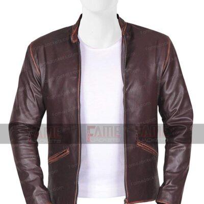 Garret Hedlund Men Distressed Real Leather Slim Fit Cafe Racer Jacket