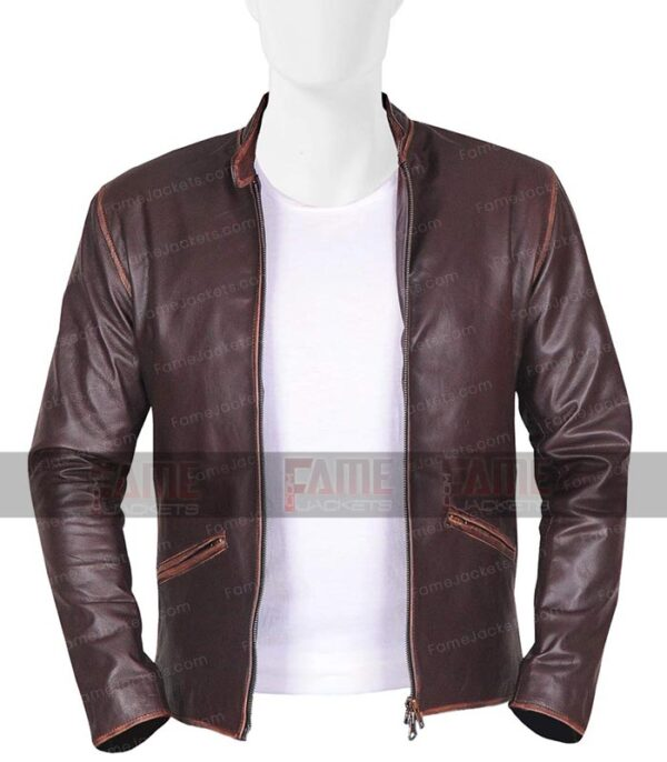 Garret Hedlund Men Distressed Real Leather Slim Fit Cafe Racer Jacket