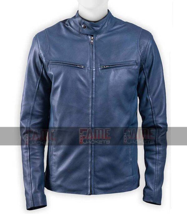 Men Blue Cafe Racer Real Leather Motorcycle Jacket On Sale