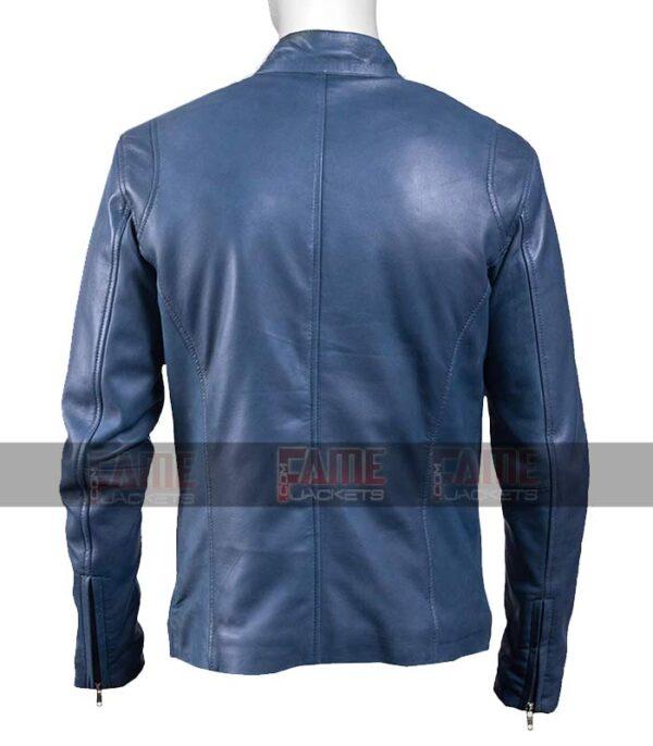Men Blue Cafe Racer Real Leather Motorcycle Jacket
