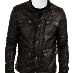 Mens Flap Pocket Black Biker Real Vintage Leather Jacket