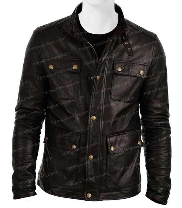 Mens Flap Pocket Black Biker Real Vintage Leather Jacket