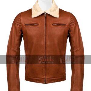 Men Tan Brown Real Leather Fur Collar Jacket Sale