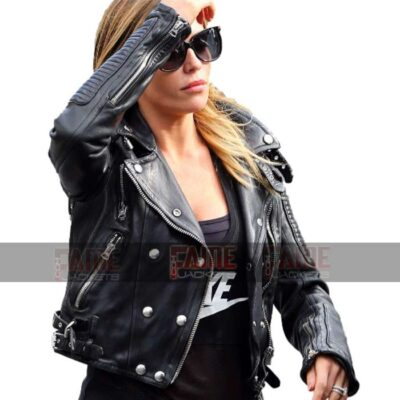 Abbey Clancy New Style Biker Leather Jacket For Women On Sale Price