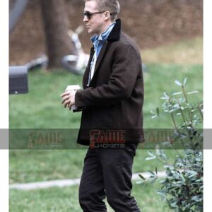 First Man Ryan Gosling Mens Brown Wool Winter Jacket On Sale
